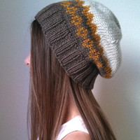THE INFINITY HAT - Knit slouchy hat - (choose your own color combination - made to order)