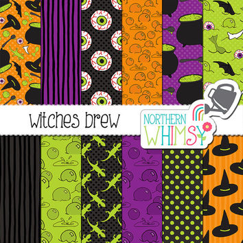 "Halloween Digital Paper - ""Witches Brew"" - cauldron, witch hat, eyeball, and bubble patterns in lime green, orange & purple - commercial use"