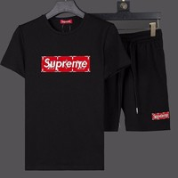 Louis Vuitton X Supreme Fashion Casual Shirt Top Tee Shorts Two Piece Set