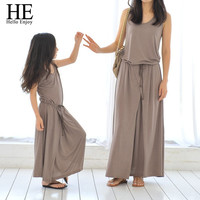 HE Hello Enjoy mother daughter dresses 2016 Casual Family Matching Outfits Sleeveless Cotton dress mother and daughter clothes