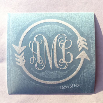 Yeti Monogram Decal, Monogram Decal, Monogram Sticker, Monogram Decal for Yeti, Monogram Decal for Car, Arrow Monogram Decal, Cute Decals