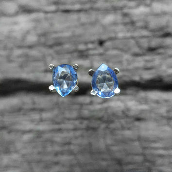 One of a kind - Sapphire Pear Stud Earrings
