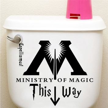 Ministry Of Magic This Way Harry Potter Quotes Bathroom Toilet Home Decal Vinyl Sticker