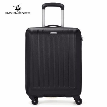 DAVIDJONES Fashion Hardside Suitcase Travel Luggage Spinner Suitcase Carry On Luggage TSA Cabine Trolley