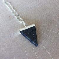 Blue Sandstone Gemstone Point & Silver Chain Genuine Blue Sandstone Triangle Necklace Unique Sandstone Triangle Silver Chain Layering T0013