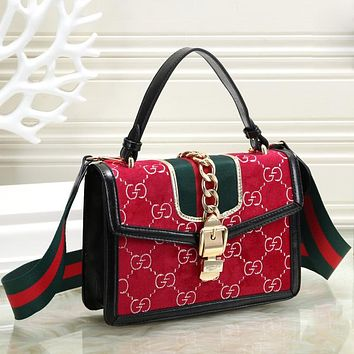 GUCCI Fashion New Stripe More Letter Shoulder Bag Personality Crossbody Bag Women Handbag