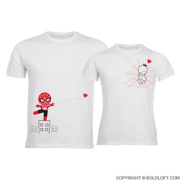 Captured by Your Love™ His & Hers Couples Shirts,Matching Couple Shirts,Couples Gift Set,Boyfriend Gift,Girlfriend Gift,Spiderman Shirts