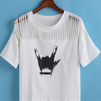 White Hand Print Ripped Short Sleeve Graphic Cropped T-shirt