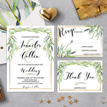 Greenery Wedding Invitation Printable Simple Wedding Invitation Suite Willow Wedding Invite Botanical Garden Wedding Set Digital or Printed