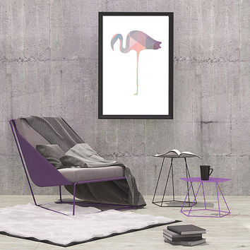 Flamingo Digital Download, Goemetric pastel  Colors Printable Art Picture Print 8x10 Purple, Pink