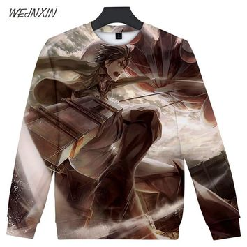 Cool Attack on Titan WEJNXIN Capless  Pullover 3D Print O-Neck Hoodies & Sweatshirts For Men Women Unisex Streetwear Harajuku Clothes AT_90_11