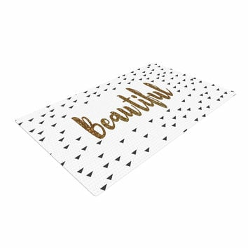 "Suzanne Carter ""Beautiful"" Gold Typography Woven Area Rug"