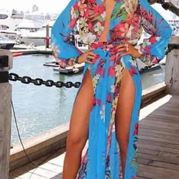 Welcome to Miami Blue Blue Red Pink Green Beige White Floral Long Sleeve Plunge V Neck High Slit Chiffon Maxi Dress - Back in Stock!
