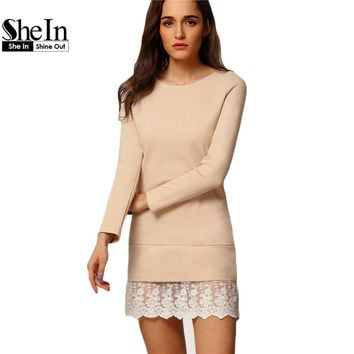 SheIn Women Fashion Mini Dresses Elegant Ladies Long Sleeve Round Neck Contrast Lace Embroidered Flounce Shift Dress