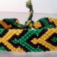 Jamaica Flag colored Macrame Knotted Friendship Bracelet - Made to order