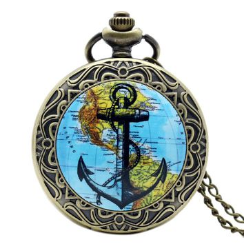 Classical Ship Anchor Design Navigation America Continent Map Vintage Locket Necklace Pocket Watch Bronze Pendant