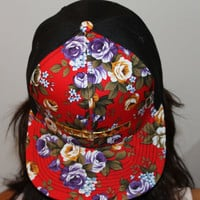 Half and Half Gold Studded Red Floral Snapback