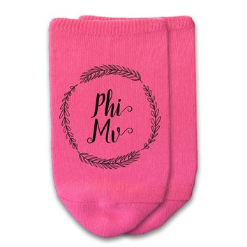 Phi Mu - Sorority Name with Wreath No-Show Socks