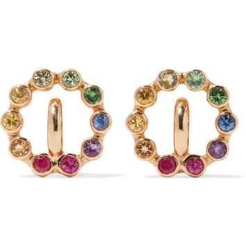 Charlotte Chesnais - Rainbow Saturn XS 18-karat gold multi-stone earrings