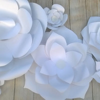 "Giant Paper Flowers set of 8 white Wedding Flower Wall Rose Nursery decor Bridal shower 3D flower background birthday 6-20"" photo backdrop"