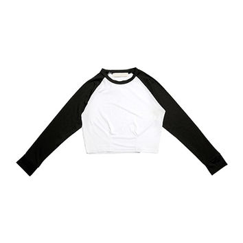Cropped Raglan Rash Guard (Black) | STYLENANDA