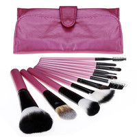 New 11 PCs Pro Makeup Cosmetic Brush Set High Quality Soft Synthetic Hair Eyebrow Eye Shadow Brush Tools Kit With Pouch