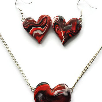 Red Marble Heart Necklace - Perfect Gift Valentine's Day - Cute Romantic Necklace - Wedding Jewelry - Polymer Clay Necklace -