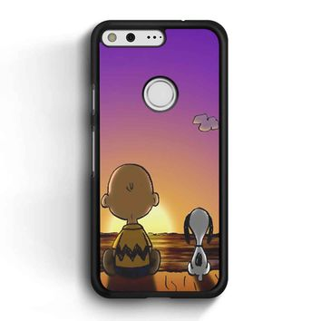 Snoopy And Charlie Brown Sunset Google Pixel Case