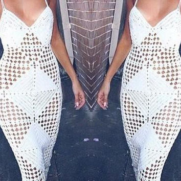 HOLLOW-OUT SWEATER LONG BANDAGE DRESS HOT