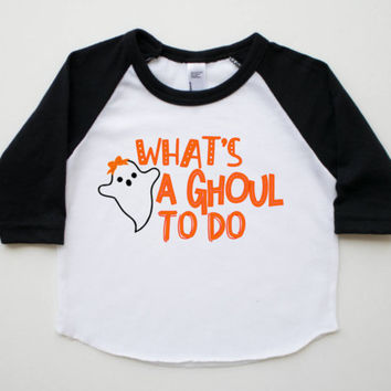 girl cute funny Halloween, girl Halloween shirt, baby girl Halloween outfit, girl ghost shirt, funny Halloween, cute Halloween, baseball tee