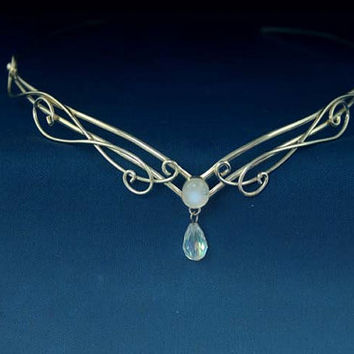 Celtic Silver Moonstone circlet, Elven Headpiece Crown, Renaissance Medieval Headdress Tiara, Arwen diadem LOTR
