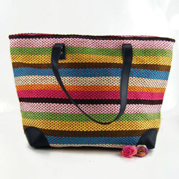 New Lady Bags Color Stripe Woven Pure Shoulder Bag Women Summer Handbag Beach Bag