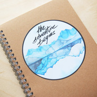 """Travel Journal """"the adventure begins"""" / Sticker with print of watercolor painting / with customized label"""