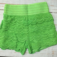 Lace Shorts: Lime