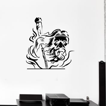 Wall Decal Grandfather with a Cane Wizard God Vinyl Sticker (ed1131)
