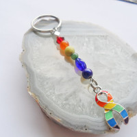 "Gay Pride Rainbow Key Chain (33)     3 3/4"", Cancer Awareness Key Chain Collection, Unique Visions by Jen"