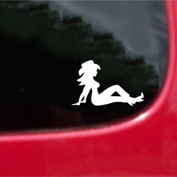 Cowgirl Mudflap Sticker Decal 20 Colors To Choose From.