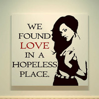 Rihanna - We Found Love In A Hopeless Place - 20X20 Canvas Painting - Acrylic Painting - Pop Art