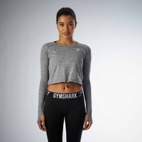 Gymshark Drawcord Crop Top - Charcoal Marl