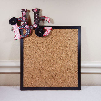 Whimsical Corkboard, Custom Made Corkboard, Fun Corkboard, Bulletin Board, Framed Black Corkboard, Magnetic Corkboard, Office Corkboard
