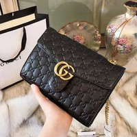 GUCCI 2018 autumn and winter new trend classic double G embossed chain bag Messenger bag