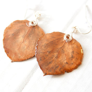 Antique Bronze Aspen Leaf Earrings, Bridesmaid Earrings, Nature Jewelry