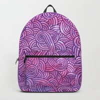 Neon pink and purple swirls doodles Backpacks by Savousepate