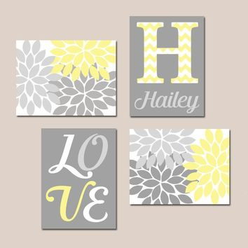 YELLOW GRAY Nursery Wall Art, Canvas or Prints Decor, Love Flower Burst, Girl Bedroom Pictures, Monogram Set of 4 Match Crib Decor Pictures