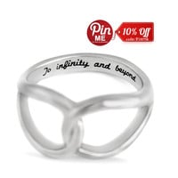 """Infinity Ring, Promise Ring Infinity Symbol Ring """"To Infinity and Beyond"""" Engraved on Inside Best Gift for Friend or Loved one"""