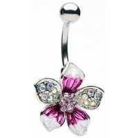 Glitz and Glamour Tropical Flower Belly Ring