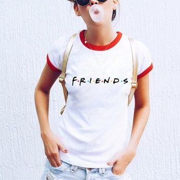 Friends Tv Show T-Shirt Letter Printing Aesthetic Clothing Women's Graphic Tees Tumblr Popular Summer Style Tops t shirt