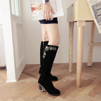 Embroidery Suede Tall Boots Chunky Heel Winter Women Shoes 2302