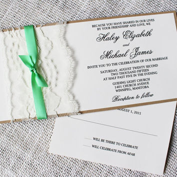 SALE 10% Rustic Wedding Invitation. Lace Wedding Invitation. Suite. mint. Wedding Invitation. Wedding Stationary. Custom Stationary