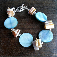 Blue Shell Bracelet - Blue Shell Coin Beads with Mother of Pearl Brown Lip Oyster Shells and Toggle Clasp - Beachy Bracelet